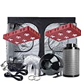 TopoGrow 2X1200W LED Grow Light Kit+ 120''X60''X80'' Indoor Grow Tent +8'' Fan&Filter&Ducting Combo Hydroponic Grow System (LED1200W Grow Light, 2XLED1200W+120''X60''X80''+8''Combo)