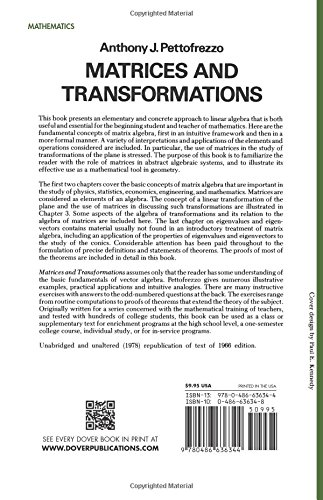 Matrices and Transformations (Dover Books on Mathematics): Anthony ...