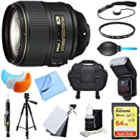 Nikon AF-S NIKKOR 105mm f/1.4E ED Lens. 64GB Card, Flash, and Accessories Bundle - Includes Lens, Memory Card, Filter, Flash, Bag, Tripod, Flash Cover, Grey Card Set, Cap Keeper, and More