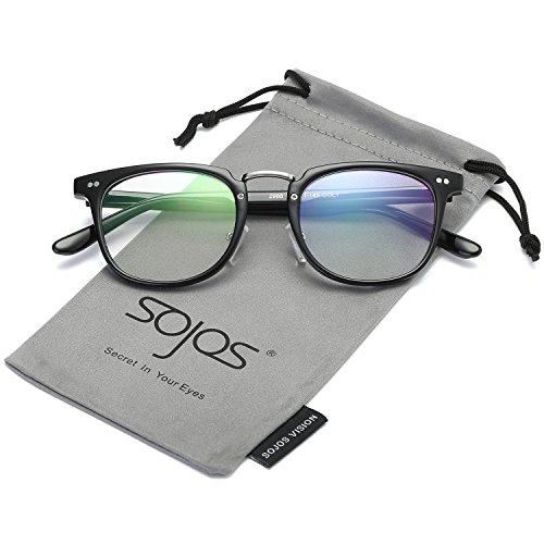 SojoS Square Reading Glasses Optical Frame Clear Lens Eyewear Eyeglasses for Men and Women SJ6005 With Bright Black - Eyeglasses Stylish 2017