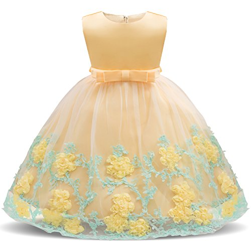 NNJXD Toddler Princess Flower Dress Baby Girls Birthday Wedding Party Dresses Dress Size (80) 7-12 Months Yellow