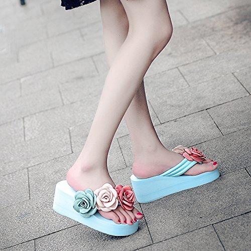 verano sandalias Playa de Resort inferior chanclas FLYRCX grueso de Seaside laderas tacones zapatos y moda d damas FZq8Sw