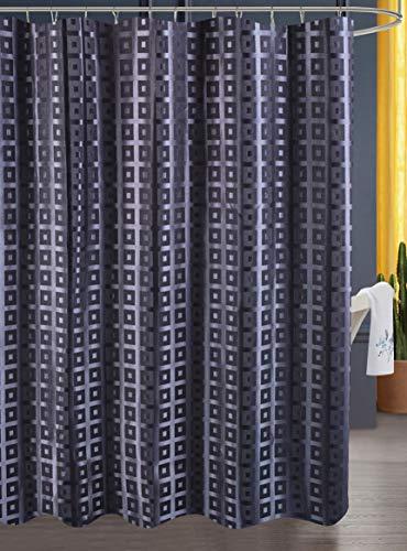 Luunaa Jacquard Patterned Shower Curtain Waterproof , 70 x 70Inch with 12 Hooks (Black Jacquard 70