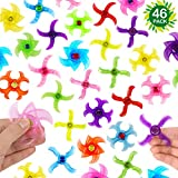 46-Pack Party Fidget Gyro Set,Mini Plastic Finger Gyro,Fidget Spiral Twister Toys Spinner Party Pack By SephireREX (Random Styles And Colors)