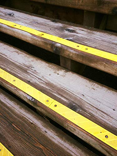 """2 Pack Grip Strip Safety Yellow No Adhesive Tape Anti Non-Slip High Traction Tread Abrasive can improve visibility and safety in the dark for Indoor and Outdoor Settings L 32/"""" x W 2/"""" 1//8 thickness"""
