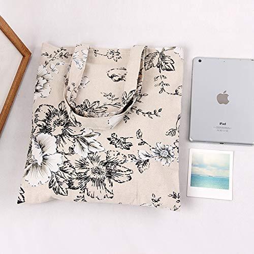 Lannmart Handmade Floral Big Flower Cotton Linen Eco Reusable Shopping Shoulder Bag Tote