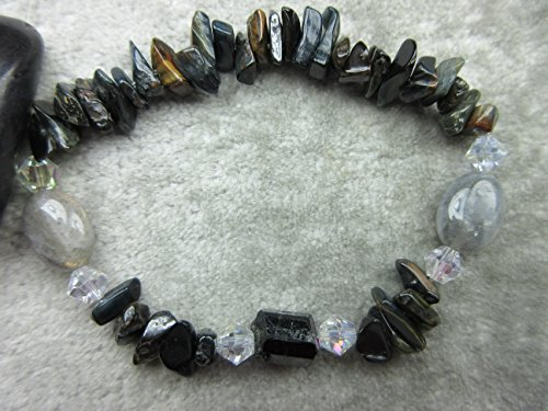 Genuine Black Tourmaline, Labradorite and Blue/Gold/Red Tigers Eye Healing Bracelet Stamina