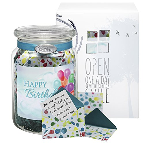 KindNotes Glass Keepsake Gift Jar of Friendship Messages for Him or Her Birthday, Friendship Day, Just Because | Friendship and Inspirational Messages - Festive Celebrations Birthday Balloons