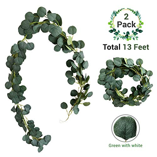 AEI Goods Silver Dollar Eucalyptus Garland Artificial (2 Pack - 13FT) Wedding, Table Runner, Home Decor, Wreath, Silk Leaves (Green with White) from AEI Goods