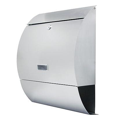 MCTECH Buzón cepillado acero inoxidable Post Buzón con compartimento para periódicos Al aire libre Periódico pared Buzón Anlage Letter Box (E type)