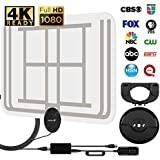 50 Miles HDTV Antenna, Fosmon Indoor Ultra Thin HDTV Antenna with Detachable Amplifier Signal Booster and High Signal Capture 9.8ft Coaxial Cable (Transparent)