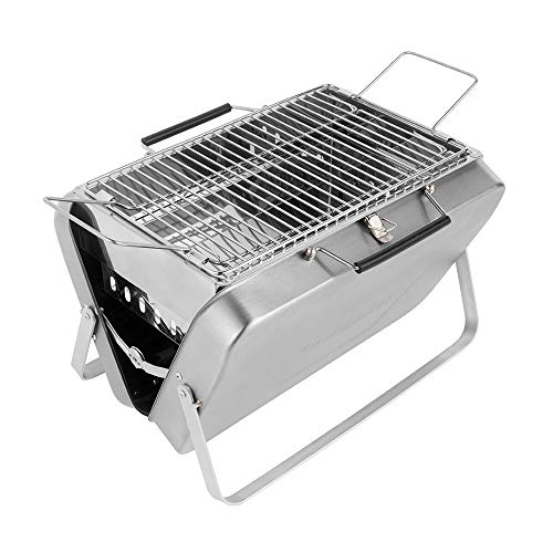 comfyoutdoor Charcoal Grill Folding Stainless Steel Barbecue Grill Portable Easy Clean&Stable 15 x 10 inchs Grilling Area,Silver