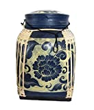 Large Thai Rice Box Decorative Hand Painted Bamboo Basket Handmade Storage Container (Honey Lotus 26'')