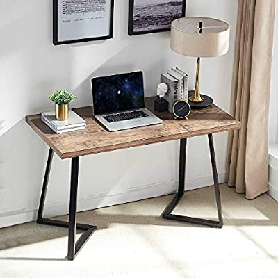 UnaFurni Rustic Computer Desk, Vintage Industrial Simple Writing Desk, Metal and Wood Study Table for Home Office Multipurpose Workstation, 55 inch -  - writing-desks, living-room-furniture, living-room - 51JR4cUEVqL. SS400  -