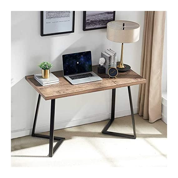 UnaFurni Rustic Computer Desk, Vintage Industrial Simple Writing Desk, Metal and Wood Study Table for Home Office… -  - writing-desks, living-room-furniture, living-room - 51JR4cUEVqL. SS570  -