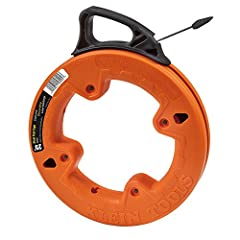The Klein Tools 25 foot (7.5 m) steel fish tape is great for short wire runs under carpeting, through insulation or over suspended ceilings. The tape features a flat, plastic slotted tip that resists snagging and easily accepts wire attachmen...