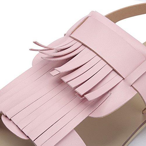 Amoonyfashion Donna Tacco Basso Materiale Morbido Tira Frangiato Su Sandali Open Toe Rosa