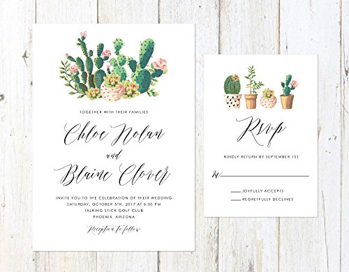 Succulent and Cactus Invitation, Watercolor Cactus Invitation, Arizona Invitation, Palm Springs Invitation by Alexa Nelson Prints