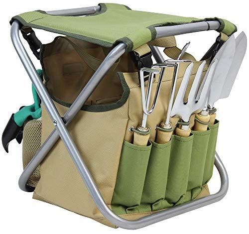 INNO STAGE 10 Piece Gardening Hand Tools Set with Garden Storage Tote Bag and Seat-Best Garden Tools Kit Organizer…