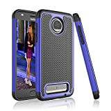 Moto Z2 Play Case, Tinysaturn [YSaturn Series] [Blue] Hybrid Shock Absorbing Dual Rubber Plastic Scratch-Proof Defender Bumper Rugged Hard [Drop Protection] Cover Cases For Motorola Moto Z2 Play For Sale