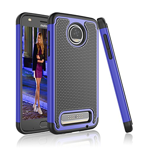 Moto Z2 Play Case, Tinysaturn [YSaturn Series] [Blue] Hybrid Shock Absorbing Dual Rubber Plastic Scratch-Proof Defender Bumper Rugged Hard [Drop Protection] Cover Cases For Motorola Moto Z2 Play