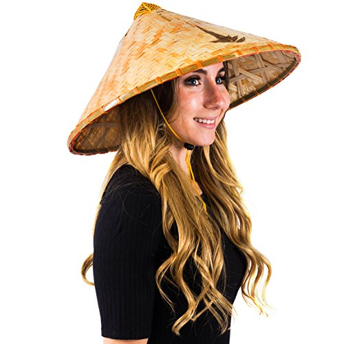 Deluxe Coolie Hat - Deluxe Traditional Asian Conical Coolie Hat (Deluxe Coolie Hat - With Leaf)