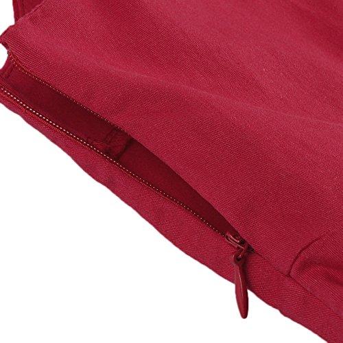 ZAFUL Mujer Vintage Vestido de Fiesta Cortos sin Mangas Cuello Cuadrado Rockabilly Rojo Tallas Grande Rojo 2