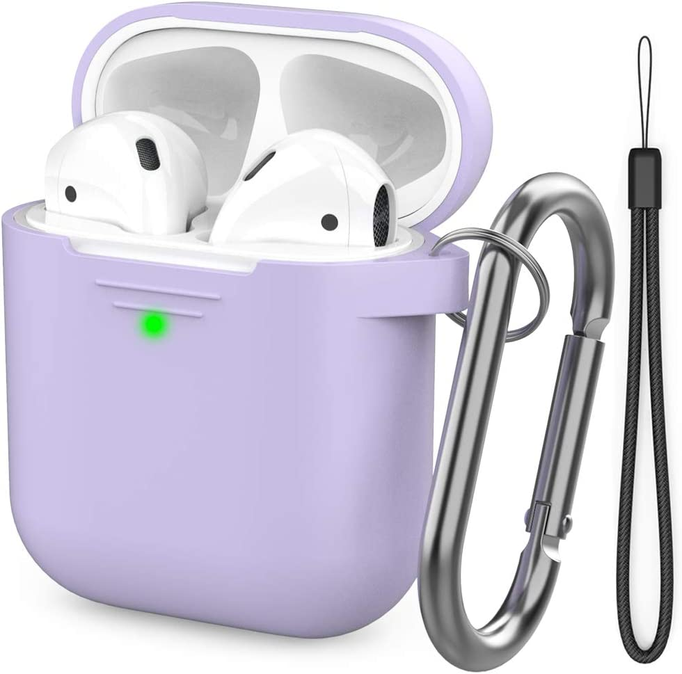 AhaStyle AirPods Case Cover [Hand Strap Included] Silicone Protective Cover Skin Compatible with AirPods 2 & 1(Lavender)