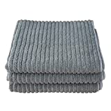 Gryeer Bamboo and Microfiber Kitchen Dish Towels - Super Absorbent, Large and Thick (4 pack, 20x30 Inch) - One Side Ribbed One Side Smooth Kitchen Hand Towels-Gray