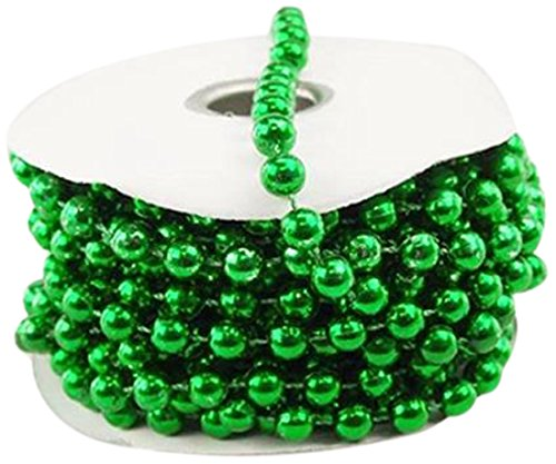 Firefly Imports Homeford MOT Pearls Plastic Beads Garland Ribbon, Green, 8mm by 8-Yard (Green Beaded Garland)