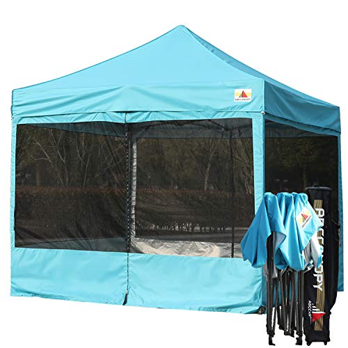 ABCCANOPY 10x10 Ez Pop up Canopy Party Tent with Netting Commercial Instant Gazebo with Screen Walls (Sky Blue)