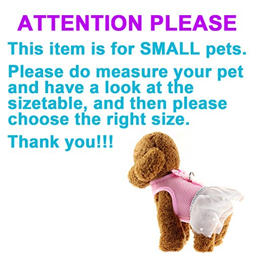 Image of Cute Elegant Pink Mesh Dog Cat Pet Vest Harness with Bow tie Lace and White Short Skirt Dress Artificial Pearls and Matching Leash Set for Dogs Cats Pets (Chest Girth: 13.8