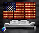 Original by BoxColors Large 30''x 60'' 3 Panels 30x20 Ea Art Canvas Print American Flag Glory USA Vintage image texture wood Wall Decor Office Interior Home (Included Framed 1.5'' Depth)