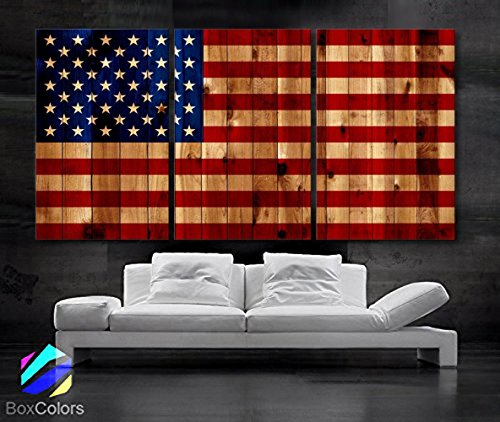 Original by BoxColors Large 30''x 60'' 3 Panels 30x20 Ea Art Canvas Print American Flag Glory USA Vintage image texture wood Wall Decor Office Interior Home (Included Framed 1.5'' Depth) by BoxColors