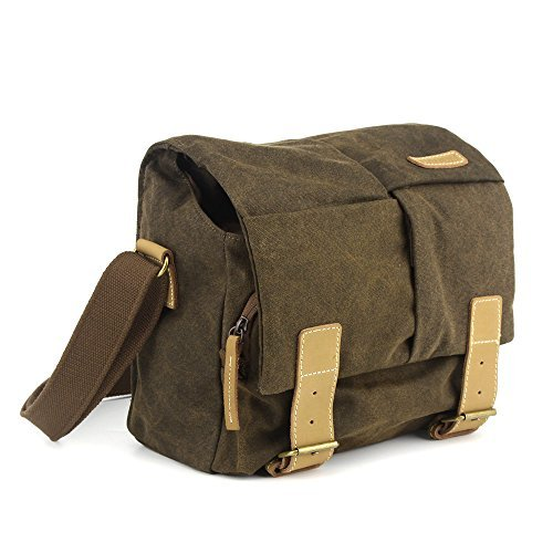 BESTEK Waterproof Canvas DSLR Camera Bag Vintage Leather Messenger Shoulder Bag Slr Gadget Bag with Shockproof Insert