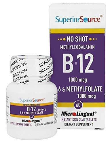 No Shot Methylcobalamin B12, 1000 mcg / B6 2 mg / Methylfolate 1000 mcg Superior Source 60 Sublingual Tablet by Superior Source by Superior Source