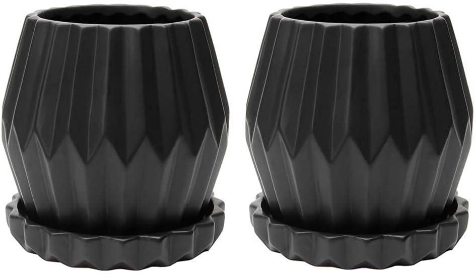 KRALIX Planter Pots Origami Round Set 2pcs (Black)