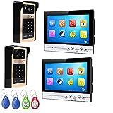 DELOVE Video doorbell, Wired Video intercom, 9 inch Night Vision doorbell, 2 Camera 2 Monitor, Hitting/Password Sharing,B