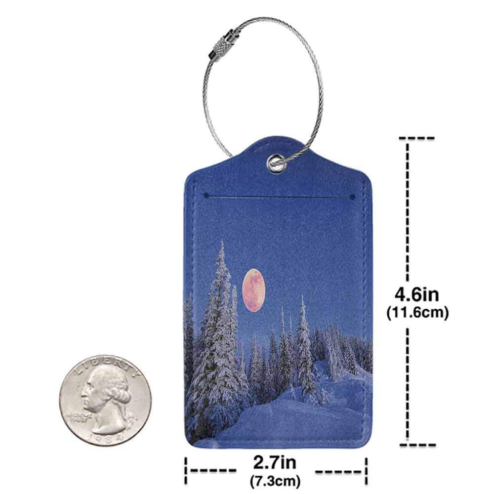 Soft luggage tag Winter Decorations Winter Night in Mountain Tops with Full Moon in Idyllic Sublime Habitat View Bendable Multi W2.7 x L4.6