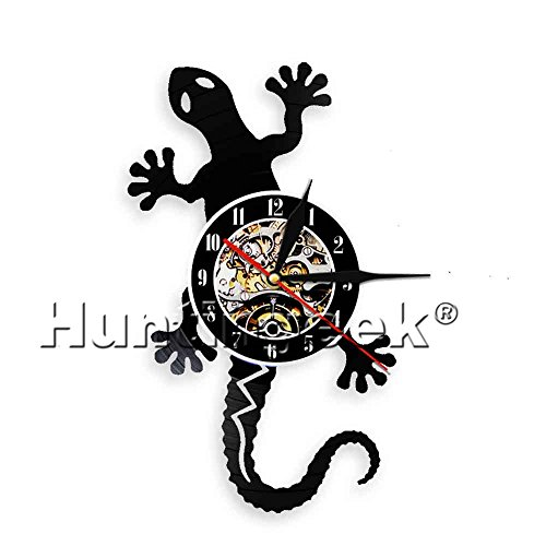 - The Geeky Days Lizard Silhouette Wall Art Gecko Vinyl Record Clock Cabrite Silhouette Animal Icon Vintage Modern Wall Clock Handmade Gift (Without LED)