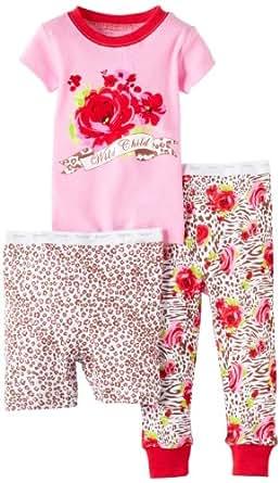 Vitamins Baby Girls' Wild Child 3 Piece Pajama Set, Pink, 18 Months