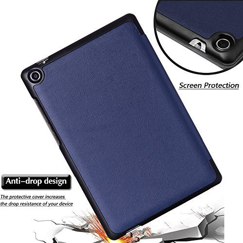 ASUS ZenPad S 8 Z580C Case with Screen Protector, Gzerma Ultra Sim PU Leather Folding [PC Rugged] Cover, Shatterproof and HD Clear Protective Film for ASUS ZenPad S 8'' Z580CA 8 inch Tablet, Blue by Gzerma (Image #4)