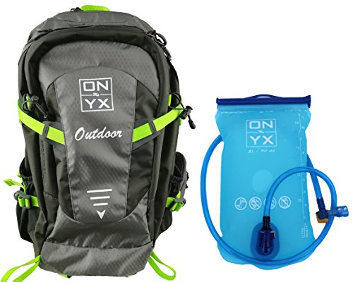 30L Hydration Backpack with 2L TPU Bladder, Waterproof Nylon, Adjustable Padded Shoulder, Chest & Waist Straps; Rain cover Included | Gray