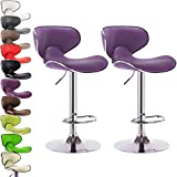 Elegant Bar Stools WOLTU ABSX1002pur Contemporary Furniture Bar Stool Swivel Purple Bonded Leather Adjustable Hydraulic Barstools Work Stools Kitchen Stools, Chairs Metal Frame,Set of 2