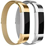 For Fitbit Alta HR and Alta Bands, Maledan Stainless Steel Milanese Loop Metal Replacement Accessories Bracelet Strap with Unique Magnet Lock for Fitbit Alta HR and Alta, Gold Silver Small