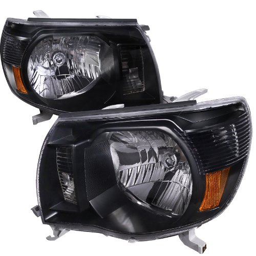 Spec-D Tuning 2LH-TAC06JM-RS Toyota Tacoma Oem Crystal Black Head Lights Lamps (Tacoma Black Headlights compare prices)