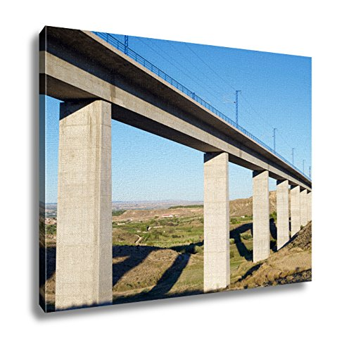 Ashley Canvas View Of A Highspeed Viaduct In Roden Zaragoza Aragon Spain Ave Madrid Barcelona Wall Art Decor Stretched Gallery Wrap Giclee Print Ready to Hang Kitchen living room home office, 24x30 by Ashley Canvas