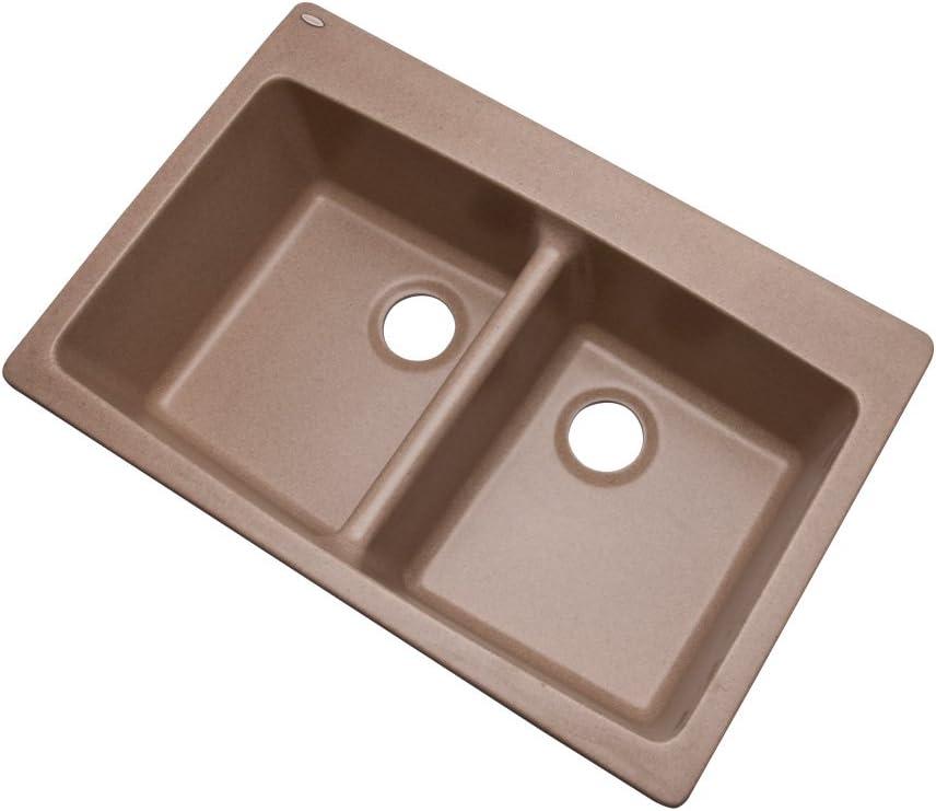 Dekor Sinks 89490Q Westwood Composite Granite Double Bowl Kitchen Sink with Four Holes Espresso 33-Inch