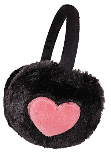 Simplicity Unisex Warm Faux Furry/ Fleece Winter Ear Muffs, Black/ Pink Heart,Heart by Simplicity
