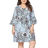 AMSKY Dress Shirts for Men,Women Long Dresses V Neck Wrap Flower Long Sleeve Plus Size Prom Dress,Jewelry,Blue,XXXL